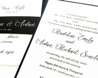 Wedding Invitation, Wedding Invite, Modern Calligraphy Black and White Wedding Invitations | PRINTED SAMPLE