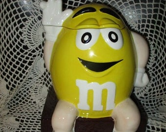 M&M Candy Friendly Yellow  Ceramic Cookie Jar Container