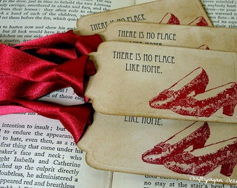 25 There's No Place Like Home Tags -Wizard of Oz Vintage Tags-Ribbon Choices