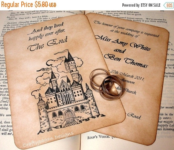 Fairytale Wedding Invitation And RSVP Card With By Craftypagan