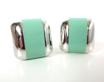 Vintage 80's Avon // Square City Sleek Seaessence Clip on Earrings