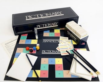 Shop Sale Vintage 1985 Pictionary Game First Edition LIKE-NEW Complete / The Rousing Game of Charades on Paper