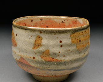Large Handmade Stoneware Yunomi Tea Cup or Small Traveling Matcha Chawan glazed with Carbon Trap Shino and My White Shino