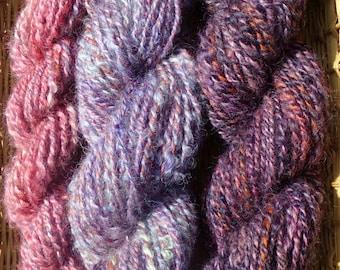 Set of 3 Hand Spun Wool Yarns Pink and Purple Yum 166 yards total