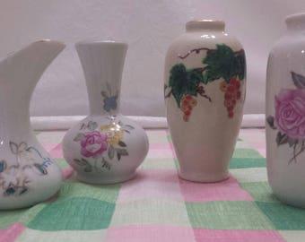 4 miniature China Vases