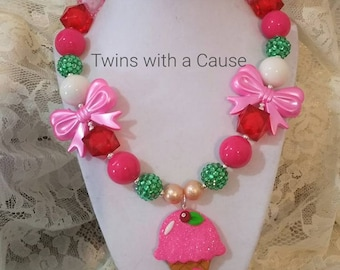 Ice Cream Chunky bead necklace,Accessories for girls,Toddler Girls chunky necklace,Birthday necklace for Girls,Bubblegum necklace