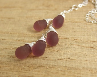 Necklace with a Cascade of Frosty Purple Glass Teardrops on a Sterling Silver Chain CDN-691