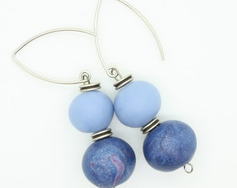 Two blue polymer clay dangle earrings