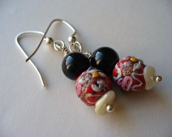 Christmas Earrings Vintage Lampwork Bead Silver Handmade holiday One of a kind Jewelry