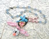 bluebird assemblage necklace pink flower bird industrial steampunk touch feedsack fabric tie