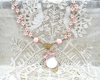 spring owl necklace assemblage pink flower meadow upcycled vintage jewelry cottage chic girly