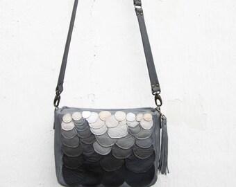 Leather Bag Messenger Bag Black leather purse Crossbody purse Shoulder bag Grey leather bag 3D patter bag, ombre leather bag, gift for her