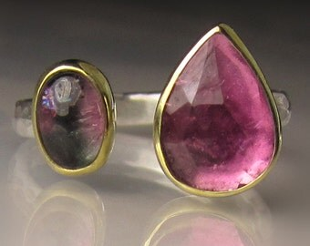 Watermelon Tourmaline Ring, Pink Tourmaline Ring, 18k Gold and Sterling Silver, Open Stone Cocktail Ring - size 7