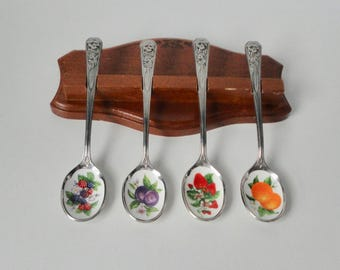 1980s AVON Hospitality  Spoon Set. Stainless Steel and Painted Porcelain Berries and Oranges.