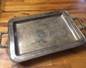Vintage Silver Handled Tray with Ornate handkes and feet  scrolled tray pattern