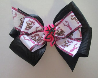 Hunting Double Boutique Hair Bow, Browning Deer Pink and Black Hair Bow, Hunting Princess,