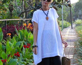 LINEN, Caftan, Kaftan, Oversize Tunic, Midi, Resort Wear, Bohemian, Island Style, Beach Dress, Coverup, Irra Tunic, 4 Sizes