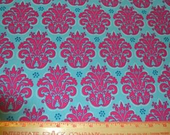 Blue Hot Pink Cotton Fabric 1 yard listing
