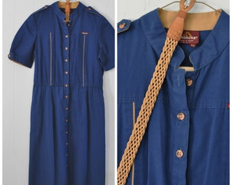 80s Jordache Dress Womens Ladies Navy Blue Tan with Belt