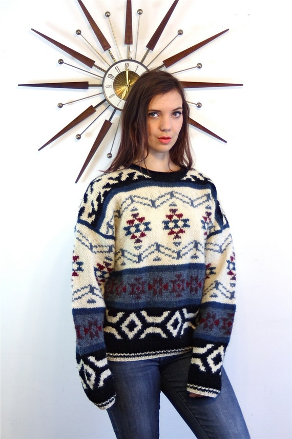 Vintage 70s Ethnic Cable Knit WOOL Sweater Native American Tribal Pattern Pullover Cream Blue Black Red 1970s Geometric Nordic Boho Jumper