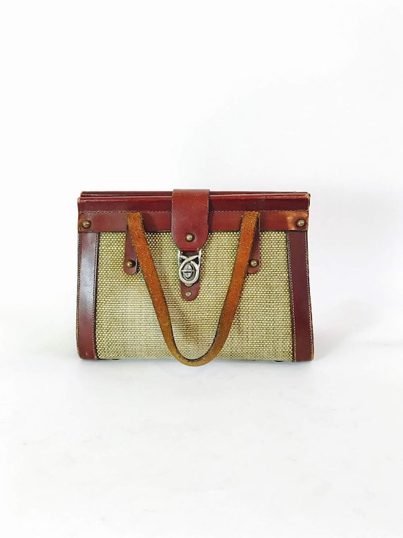 Vintage 60s Tweed & Leather Bag Oxblood Brown Leather Handbag Brass Buckle Studs Boxy Frame 1960s Woven Jute Purse Preppy Classic Pocketbook