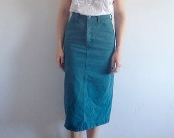 Denim Skirt Vintage Wrangler Pencil Skirt