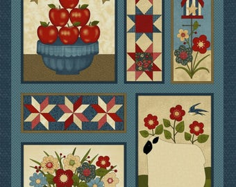 "NEW Liberty Hill Quilt Fabric 100% Cotton Americana Patriotic 24"" X 44"" Fabric Panel Apples"