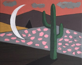 Cactus, Clouds and Moon // Original Acrylic Painting