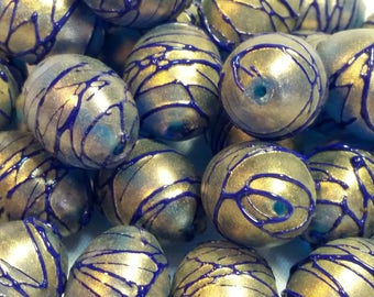 Lot of 10 glass beads Murano Color Gold and Blue Lapis - 0062