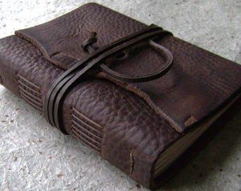 "Rugged leather journal, 4"" x 6"", rustic dark brown journal, old world journal, travel journal, leather sketchbook, (2503)"