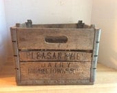 Vintage 1963 Wooden Milk Bottle Crate #A