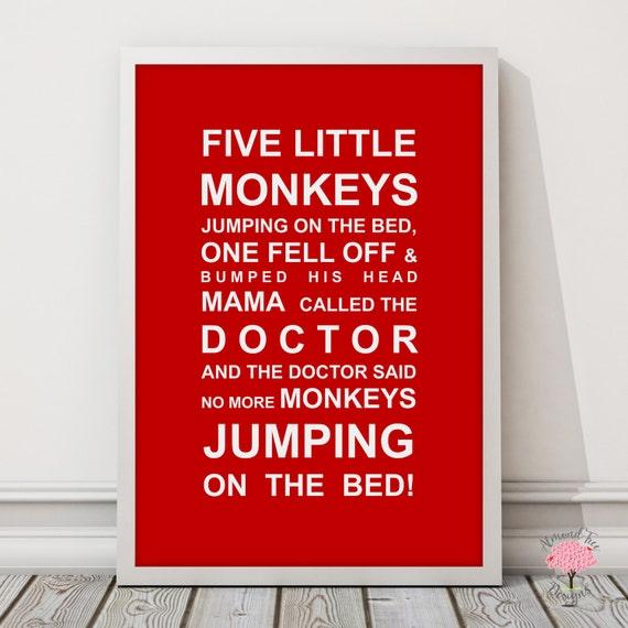 Five Little Monkey's- Nursery Print