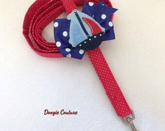 Sail Away With Me Dog Leash With Bow by Doogie Couture Pet Boutique