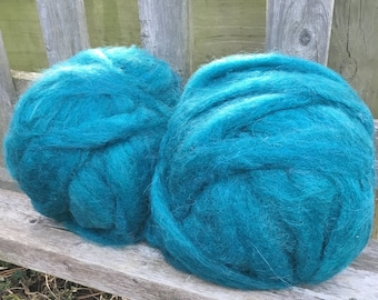 Alpaca Wool Roving, Spinning, Felting, Teal