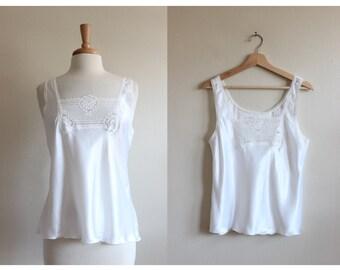 Vintage White Lace Trim Satin Camisole Tank Top