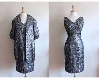 1950s Dress / Vintage Silver Black Brocade Lilli Diamond Dress & Jacket Set
