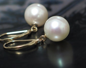 14k Gold Pearl Earrings | Large 10mm White Freshwater Pearls | 14kt Solid Yellow Gold Leverbacks | Classic Pearl Dangles | Ready to Ship