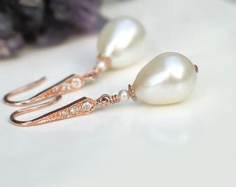 Teardrop Pearl Earrings | Large White Freshwater Drop Pearl | CZ Pavé 14k Rose Gold Vermeil Dangles | Bridal Pearl Jewelry | Made to Order