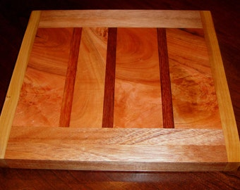 Butcher Block Cutting Board Made With Cherry Teak and Mahogany