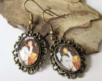 Lady in White Dangle Earrings, Victorian Antiqued Brass Oval Shaped Cameo, Vintage Style Drop, Gift fr her