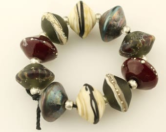 Lampwork Beads Set Etched Matte Rustic Glass Saucer, Black, Gray, Red, Ivory, Silver