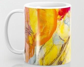 Mug Art, coffee mugs ceramic. Home drinkware Art, Art breakfast mugs, summer girl turquoise, yellow red mug