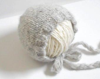 Pearl Gray Newborn Bonnet/Baby Bonnet/Knit Bonnet/Newborn Photo Prop/Baby Hat/Hand Knit Baby Bonnet/Newborn Hat/Newborn Baby Bonnet