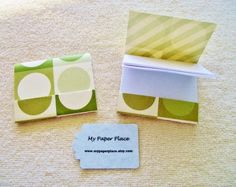 8 - Matchbook Notepads - Olive Green Circles- 12 - 3 x 4 inch fold over sheets -
