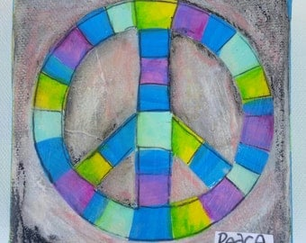 Blue and Green Peace Sign Mini Painting