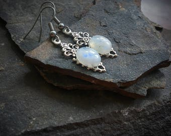 Moonstone Earrings on Silver Teardrops
