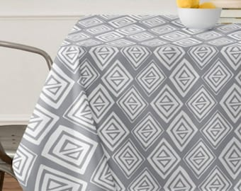 Gray Geometric Tablecloth // Table Linens // Dining Room // Diamond In The Rough Design // Table Decoration // Tribal Pattern // Gray print