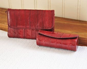 1980's Maroon Eel Skin Set Lipstick Holder and Coin Purse