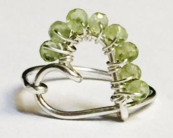Peridot Ring  Peridot Gemstone Ring   Gemstone Ring   Hand Forged Heart Ring   August Birthstone