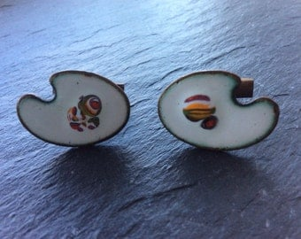 Mid century cuff links enamel on copper - artist palettes white